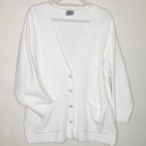 Laura Ashley Vintage White Chunky Ribbed Cardigan